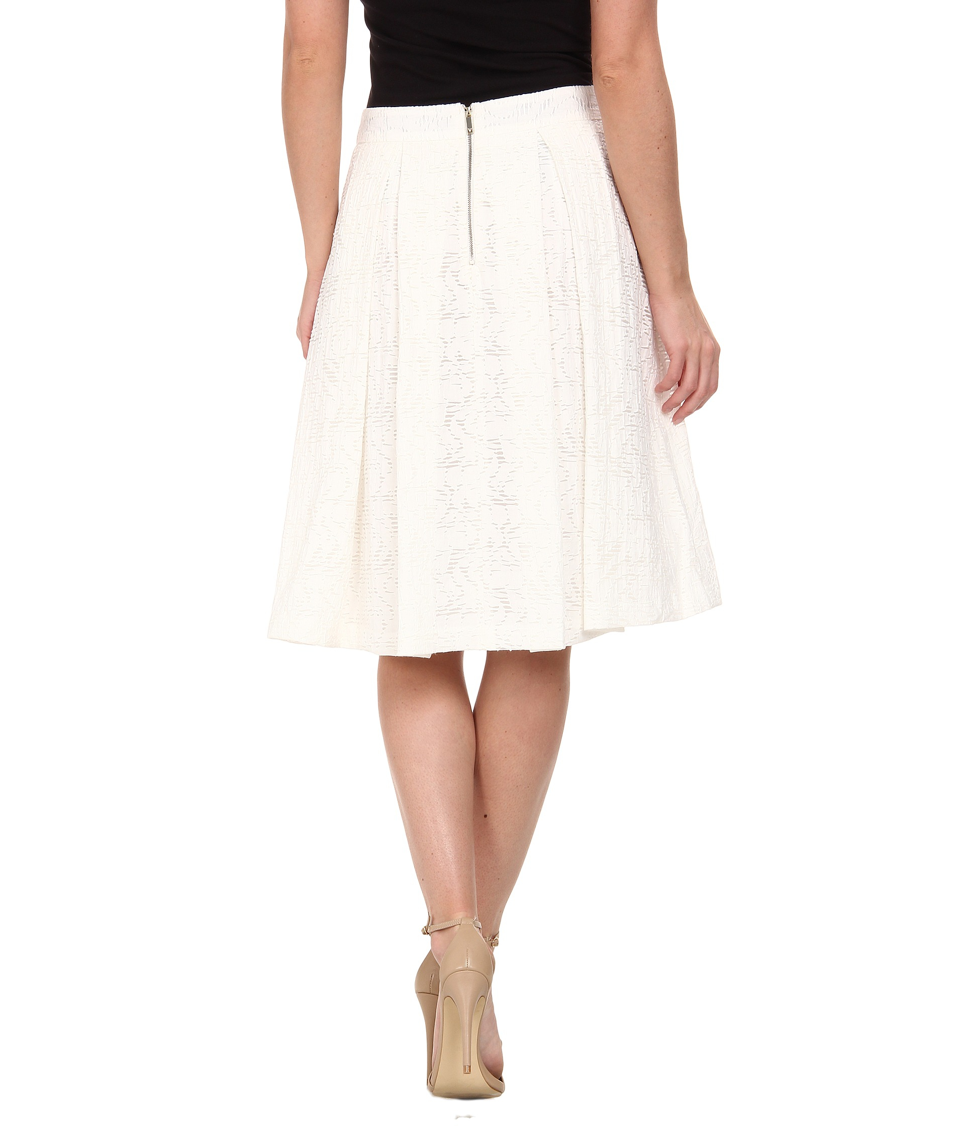 Vince camuto Knee-Length A-Line Skirt W/ Front Pleats in White   Lyst