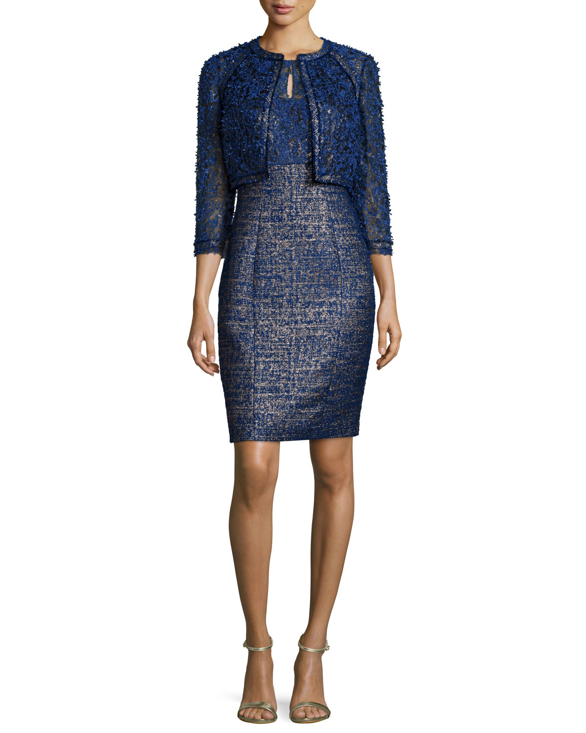 Lyst - Kay unger Cocktail Dress and Jacket Set in Blue