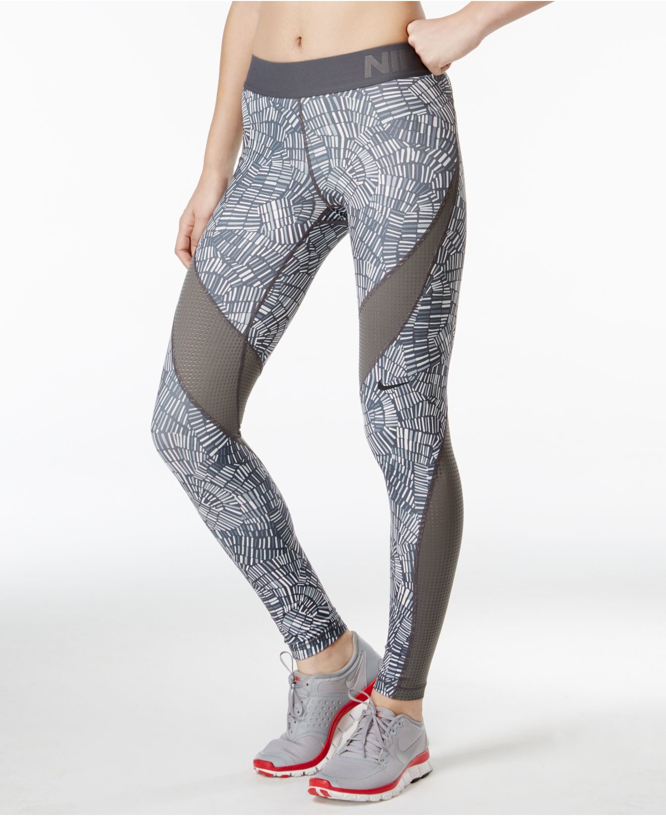 Lyst - Nike Pro Hypercool Dri-fit Tidal Printed Leggings in Gray e83fb8150