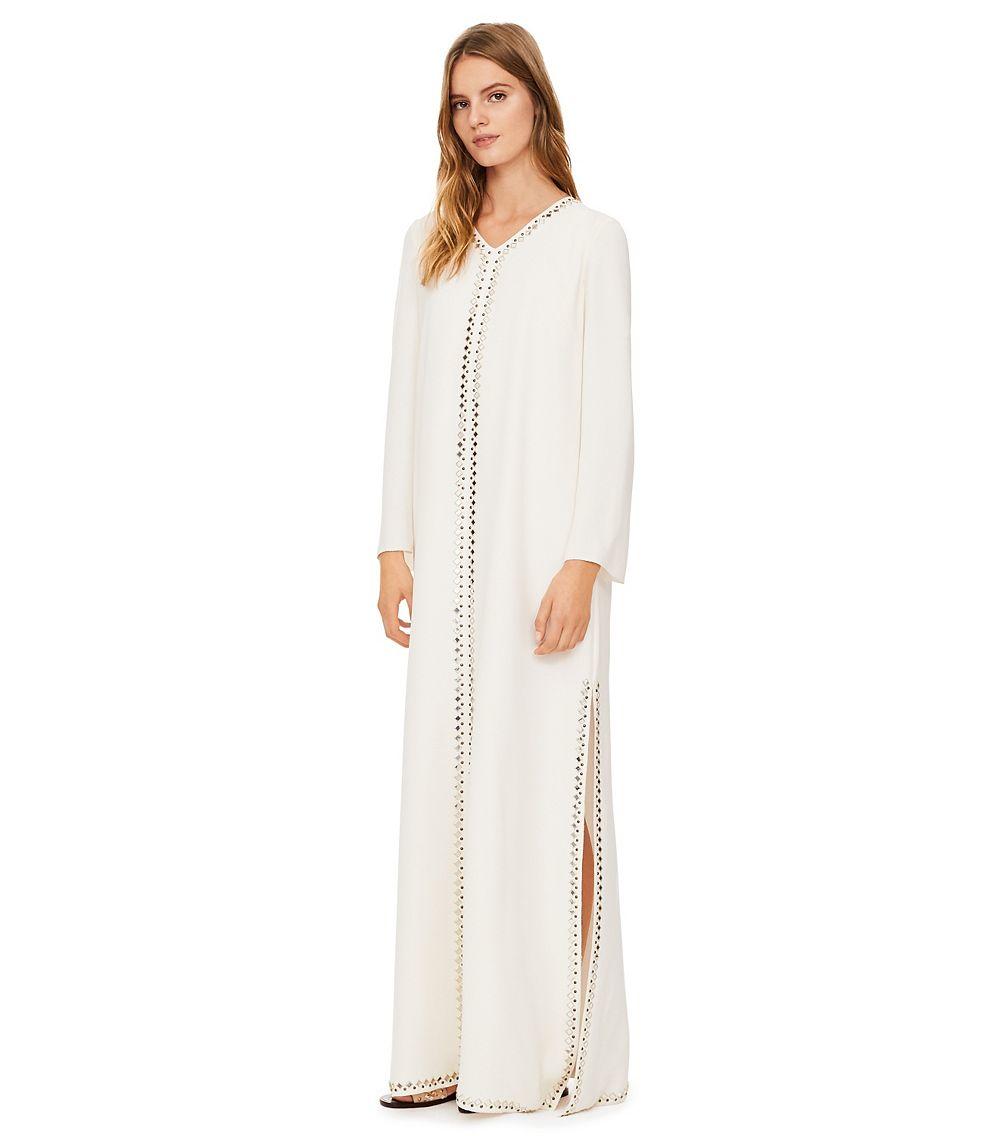 49e6260e419d Lyst - Tory Burch Embellished Silk Caftan in White
