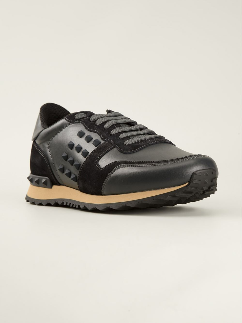 Valentino Lace Up Sneakers In Black For Men Lyst