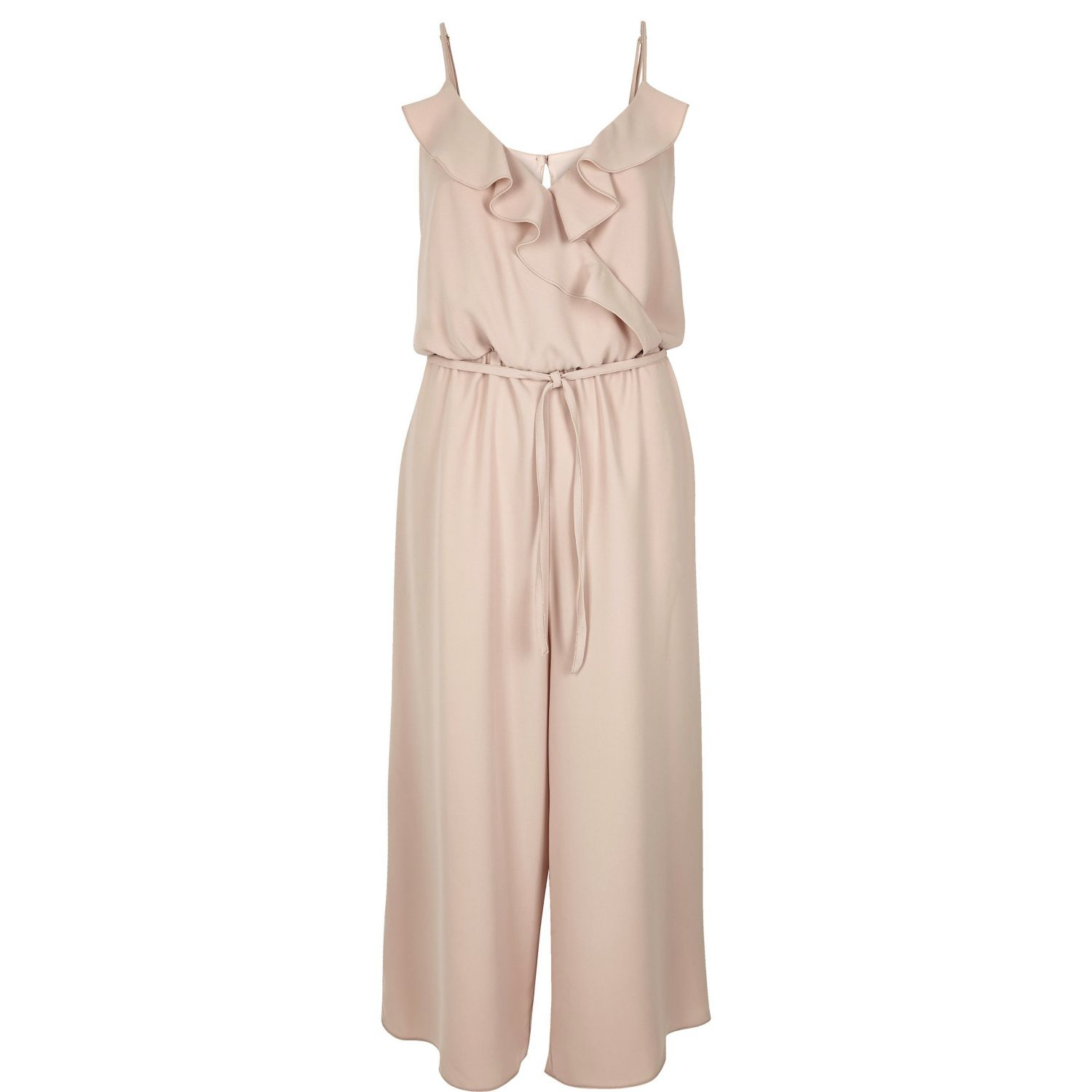 3934bf4a9f40 Lyst - River Island Light Pink Frilly Wrap Front Culotte Jumpsuit in ...