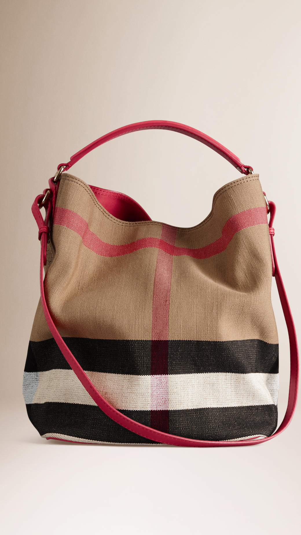 Lyst - Burberry The Medium Ashby Canvas Check And Leather Bag in Pink 2488ebf353bf4