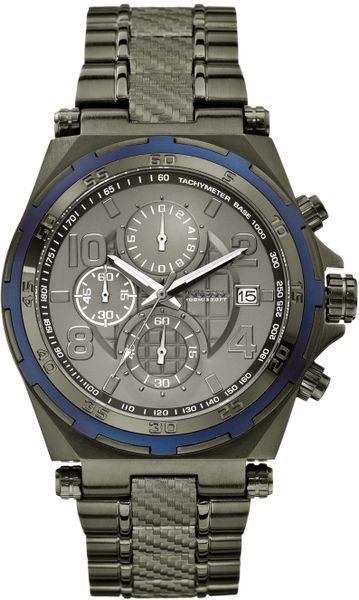 Guess Watch Mens Chronograph Gunmetal Ionplated Bracelet