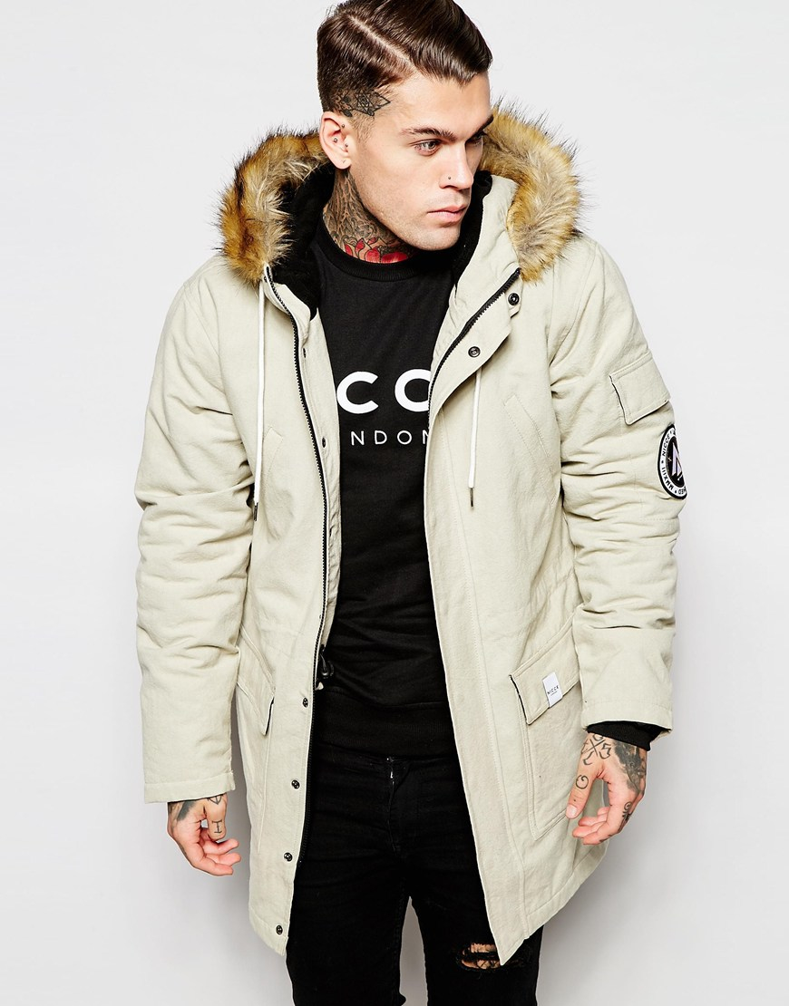 Nicce london Canvas Parka With Faux Fur Hood in Natural for Men | Lyst