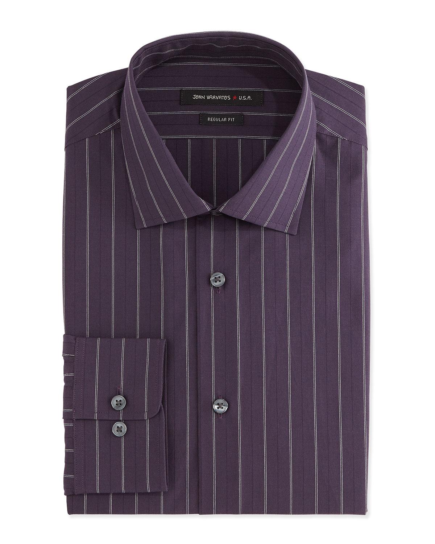 John varvatos regular fit ribbon striped dress shirt in for Regular fit dress shirt