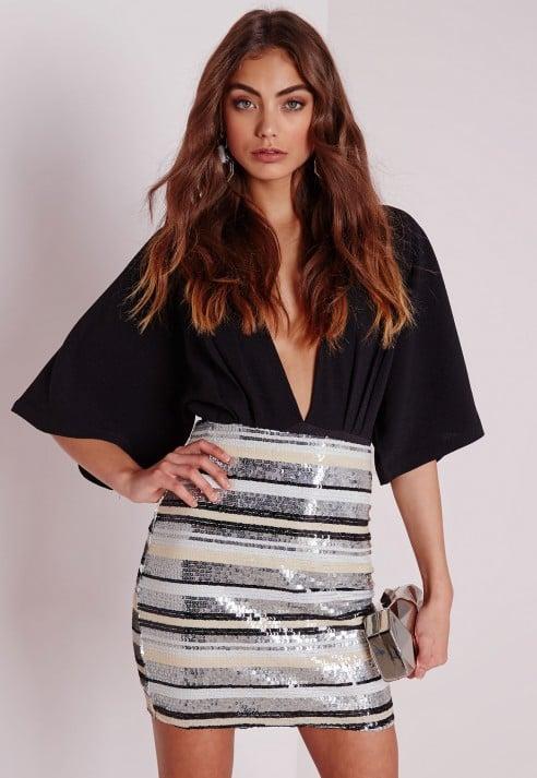 ba710cc723 Lyst - Missguided Striped Sequin Mini Skirt Multi