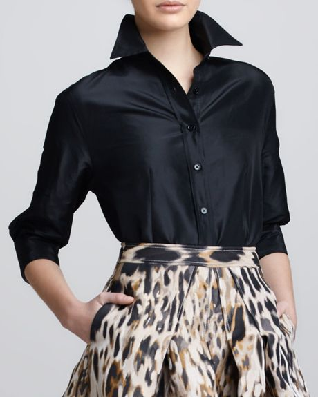 Black Taffeta Wrap Blouse 114