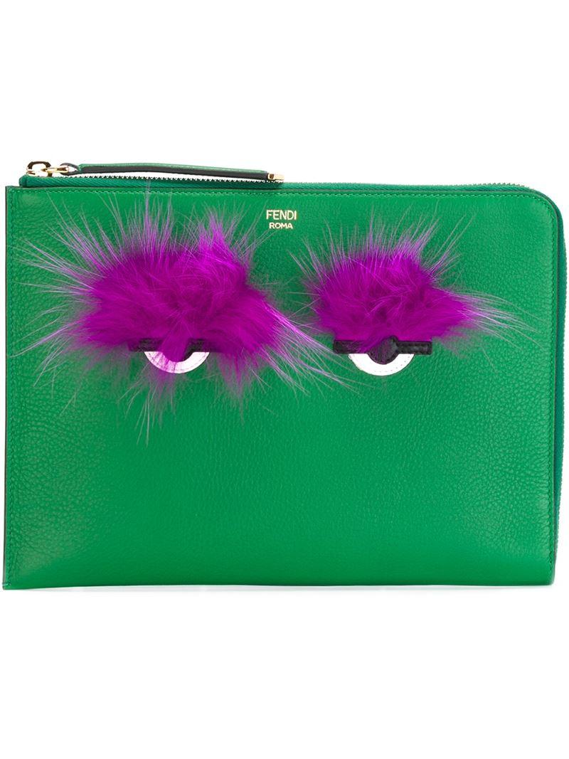 7afd42cfc886 ... sale fendi bag bugs clutch in green lyst fb9ef 87675