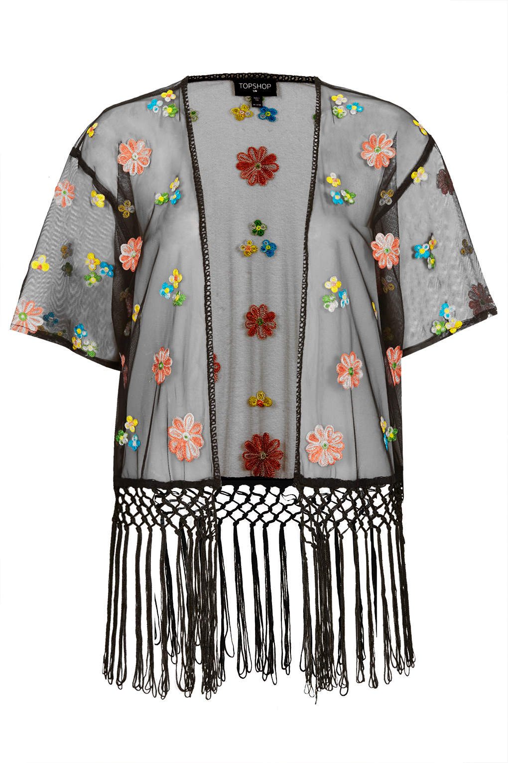 New topshop embroidered floral kimono fringe top blouse sz