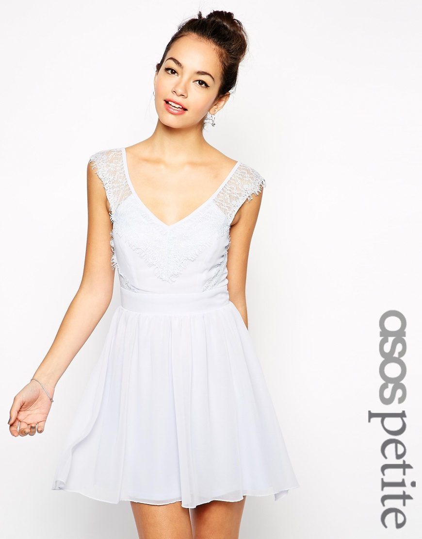 Lyst - ASOS Petite Exclusive Eyelash Lace Skater Dress With V Back ... f686c7ea6