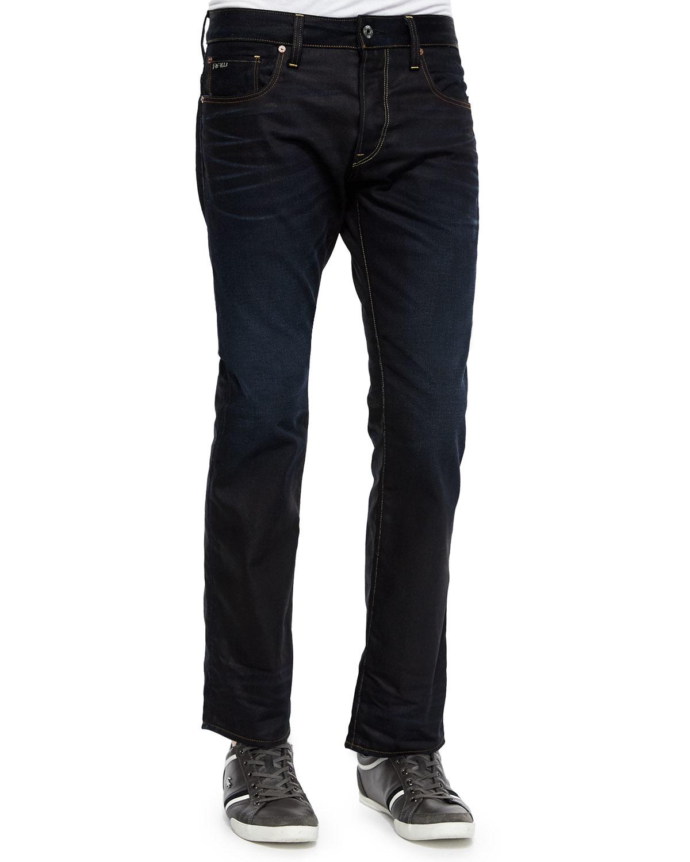 g star raw dark wash straight leg jeans in blue for men lyst. Black Bedroom Furniture Sets. Home Design Ideas
