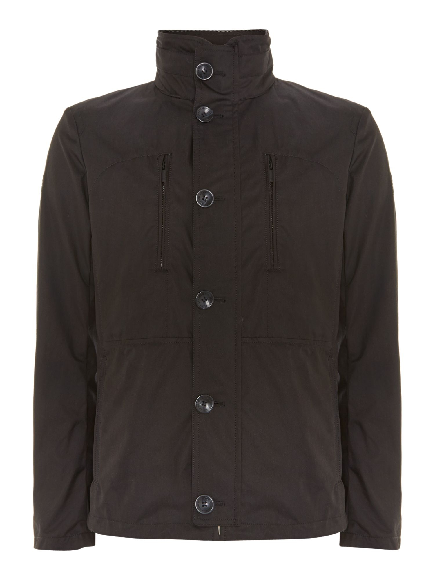 Armani jeans Button Through 4 Pocket Jacket in Black for Men | Lyst