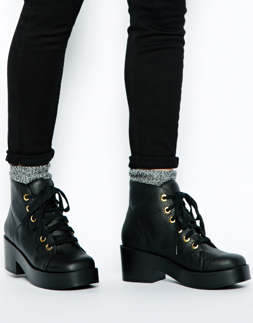 lyst asos rocket lace up ankle boots in black. Black Bedroom Furniture Sets. Home Design Ideas