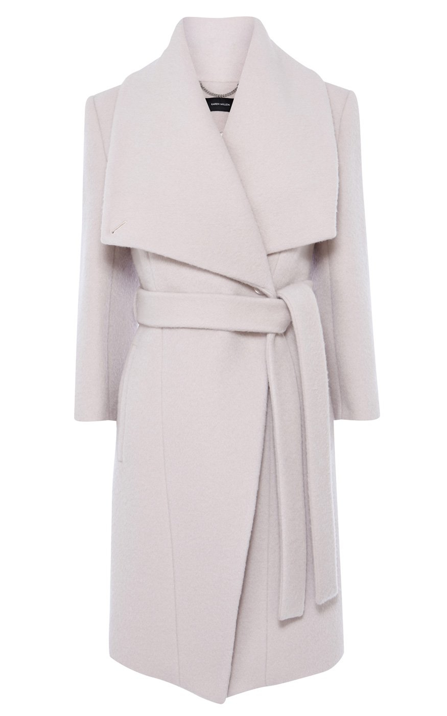 Karen Millen Wool Mohair Belted Oversized Collar Coat In