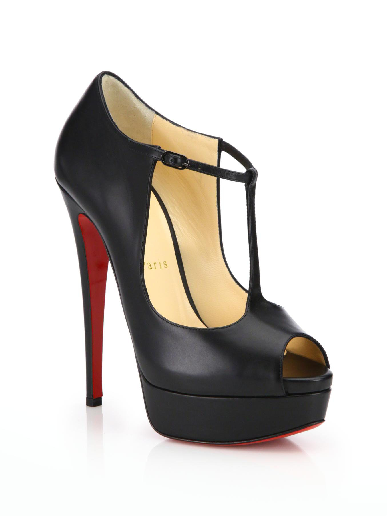 Christian louboutin Leather Palais Royale 140 Peep Toe Platform ...