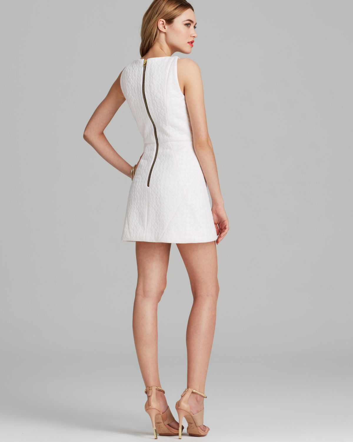 Milly Dress Geo Embossed Angled Shift in White | Lyst
