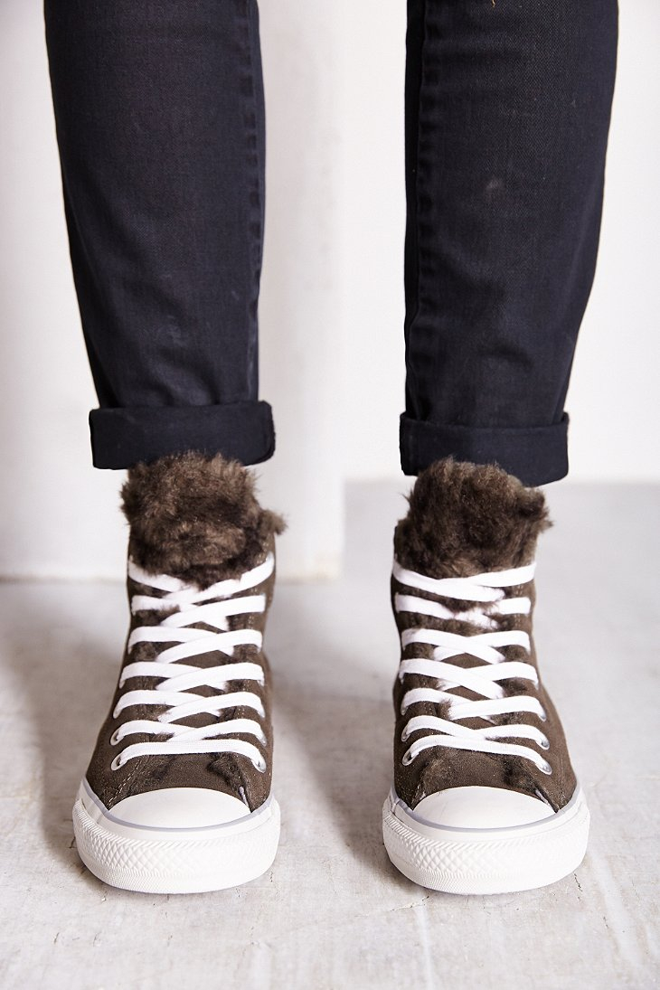 Lyst Converse Suede Fur Womens High Top Sneaker In Gray