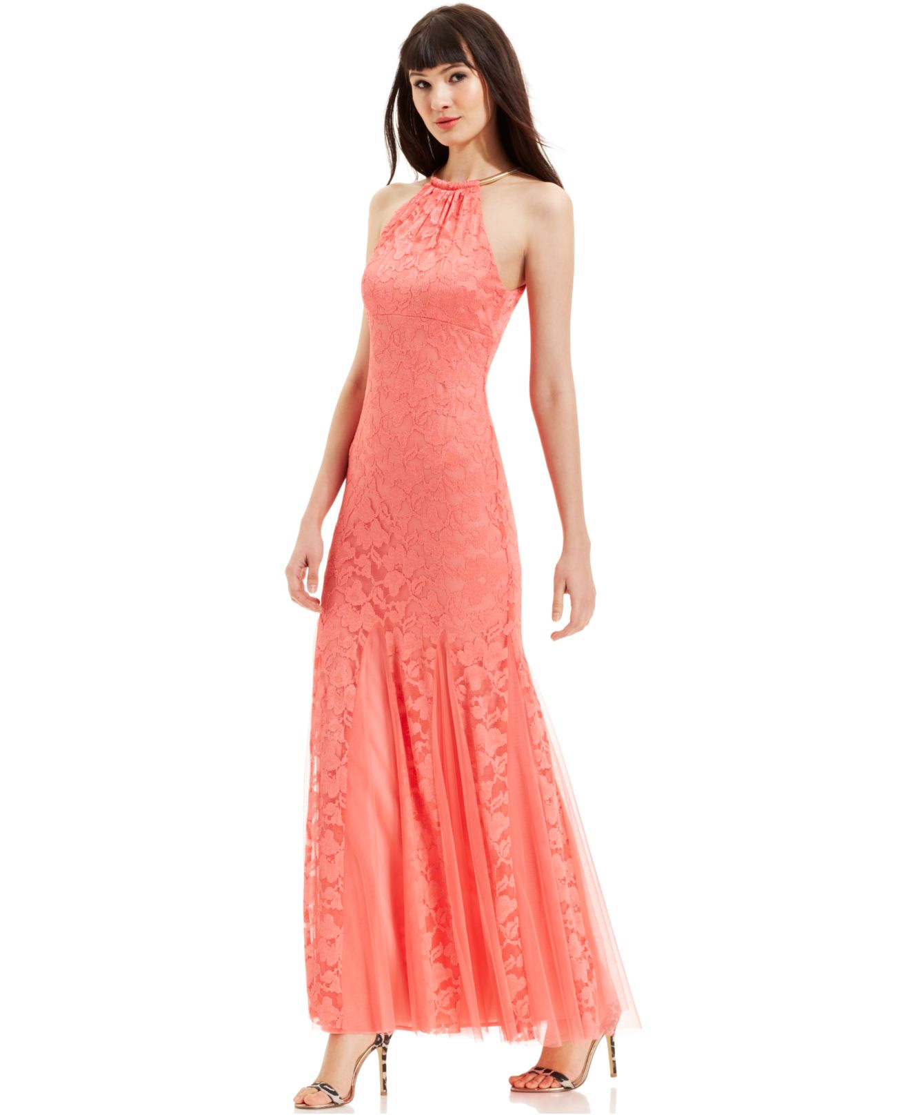 Lyst - Xscape Godet-Pleat Lace Halter Gown in Pink