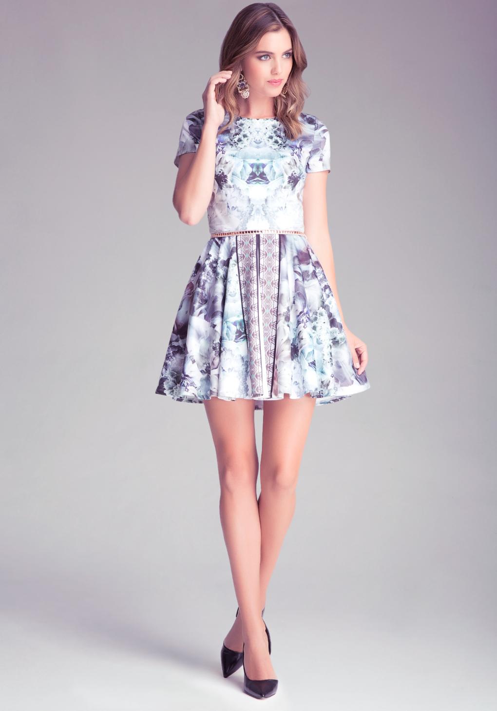 Bebe mix print circle dress lyst gallery ombrellifo Images
