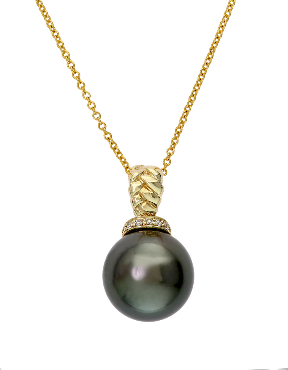 Effy 14k Yellow Gold Black Tahitian Pearl And Diamond ...