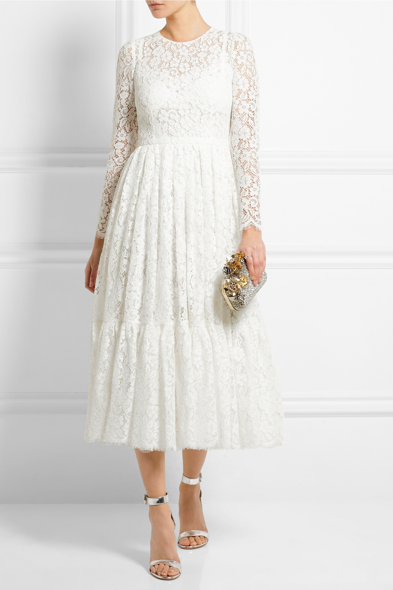 Fashion week Gabbana and Dolce white lace dress for girls