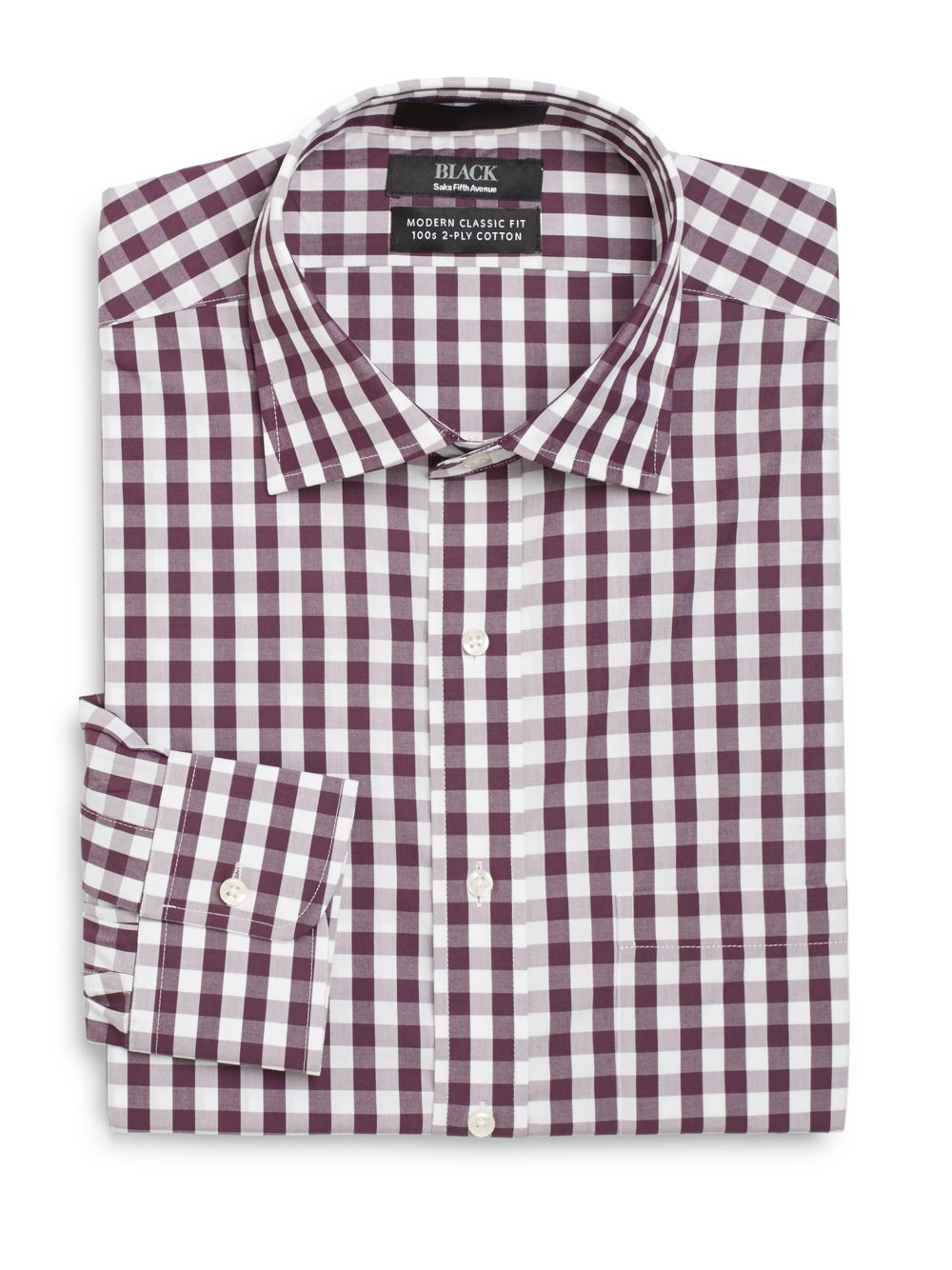 Saks fifth avenue black label modern classic fit gingham for Men s purple gingham shirt