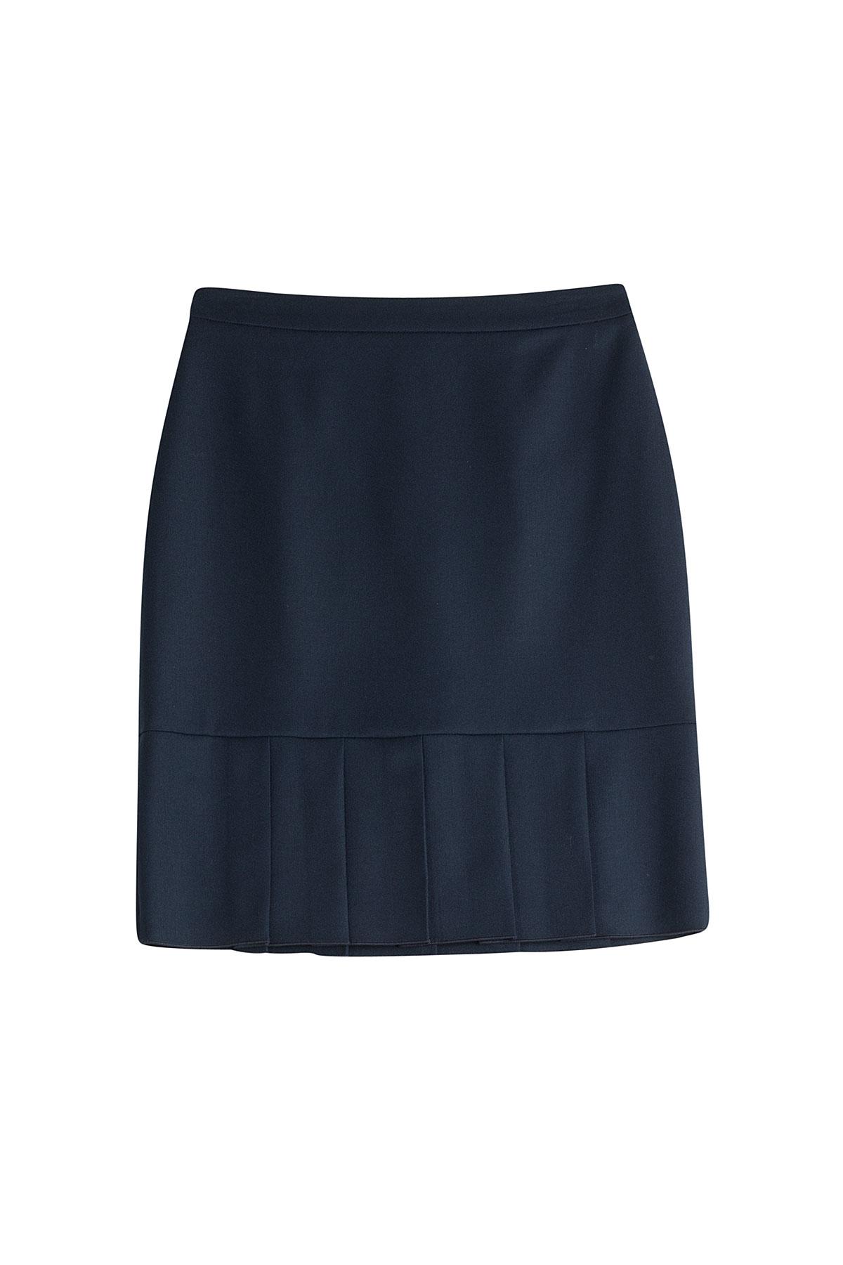 hugo wool skirt with pleated hem blue in blue lyst