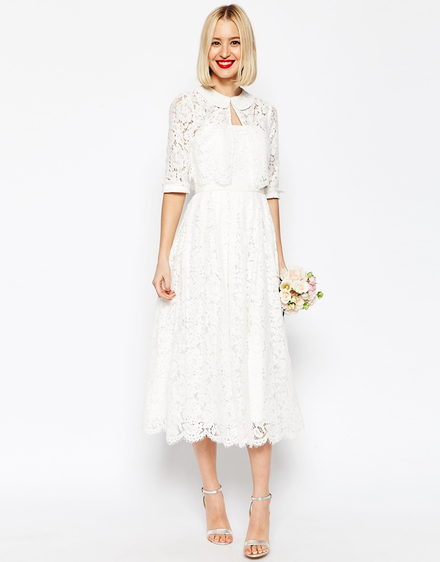 Asos Bridal Lace Bandeau Midi Prom Dress With Crop Jacket - White In White | Lyst