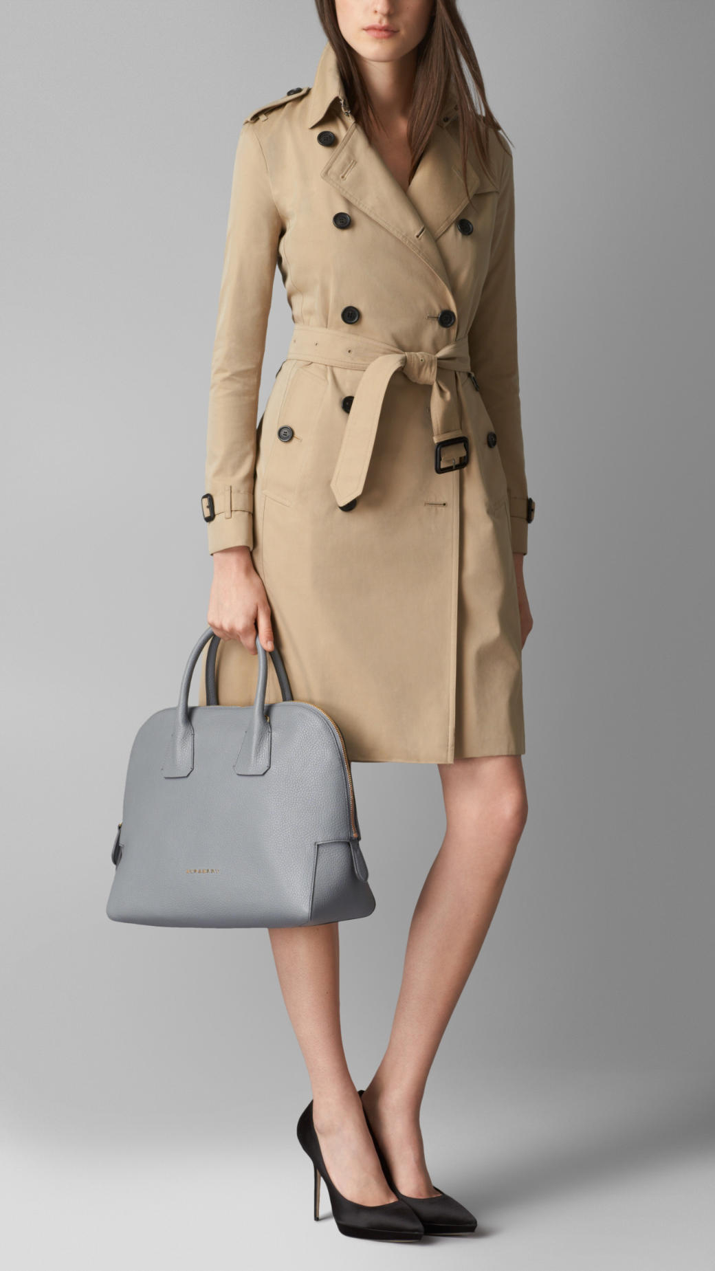 Burberry Small Grainy Leather Bowling Bag in Gray - Lyst fe6dd84ddf542