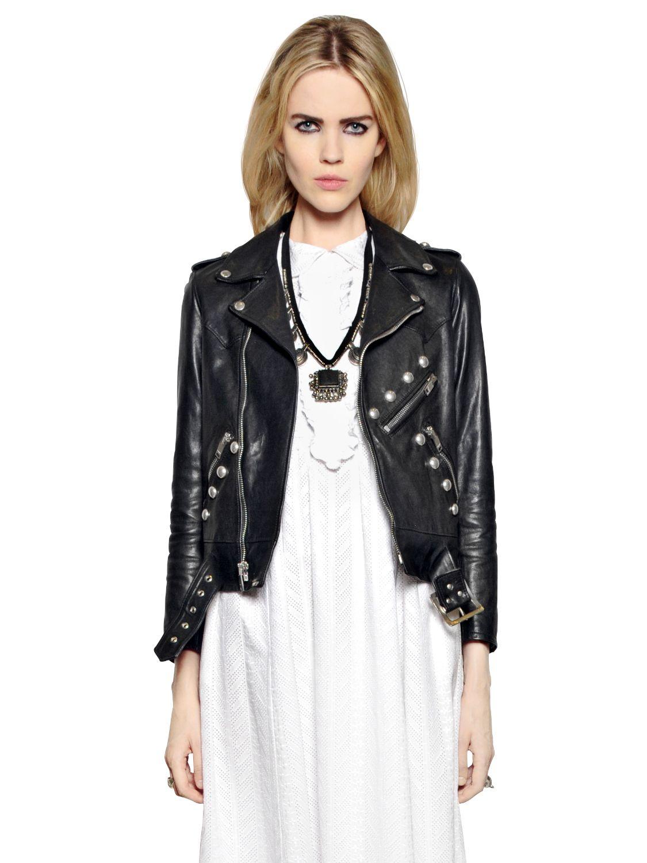 c2824521f418 Lyst - Saint Laurent Studded Leather Moto Jacket in Black