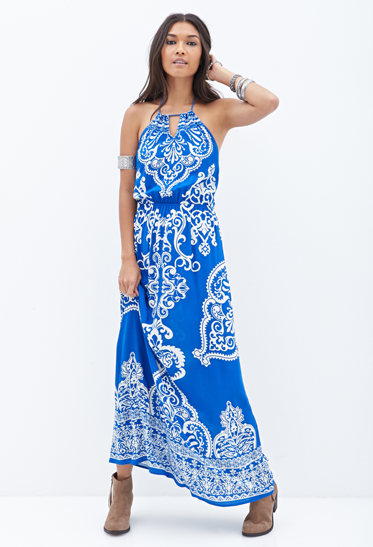 Forever 21 Baroque Print Maxi Dress In Blue Lyst