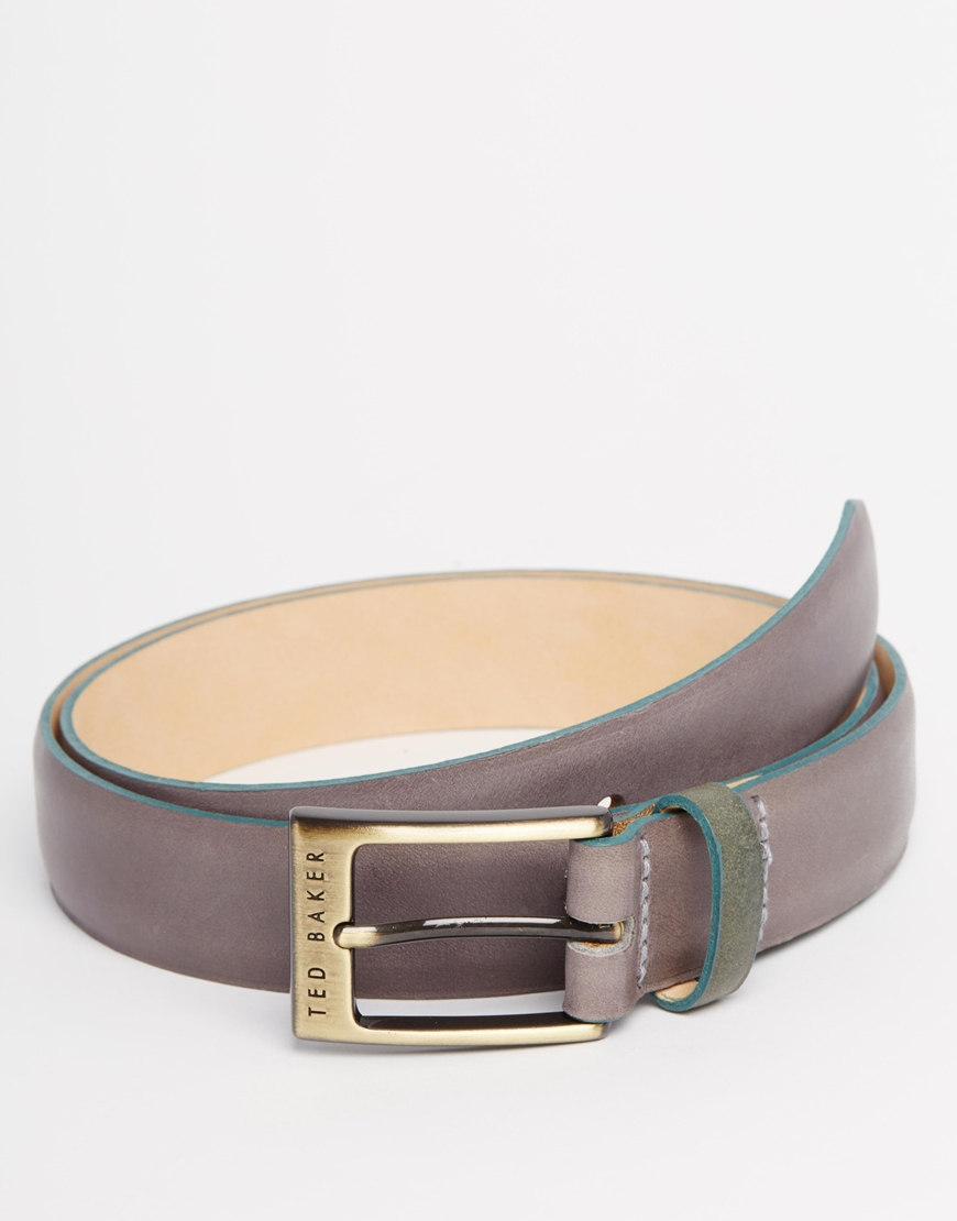 ted baker leather belt in gray for lyst
