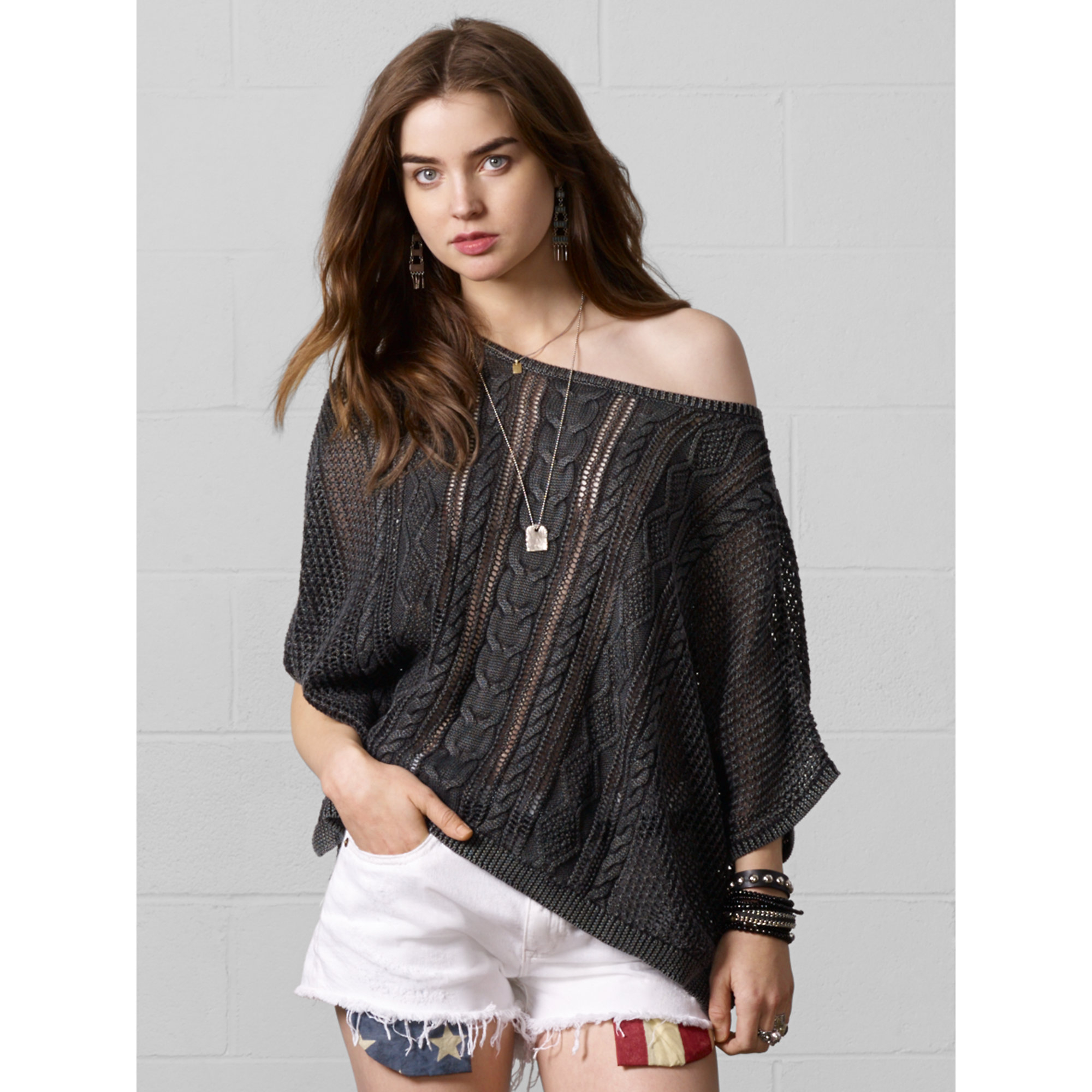 denim supply ralph lauren cable knit pullover sweater in black black wash lyst. Black Bedroom Furniture Sets. Home Design Ideas