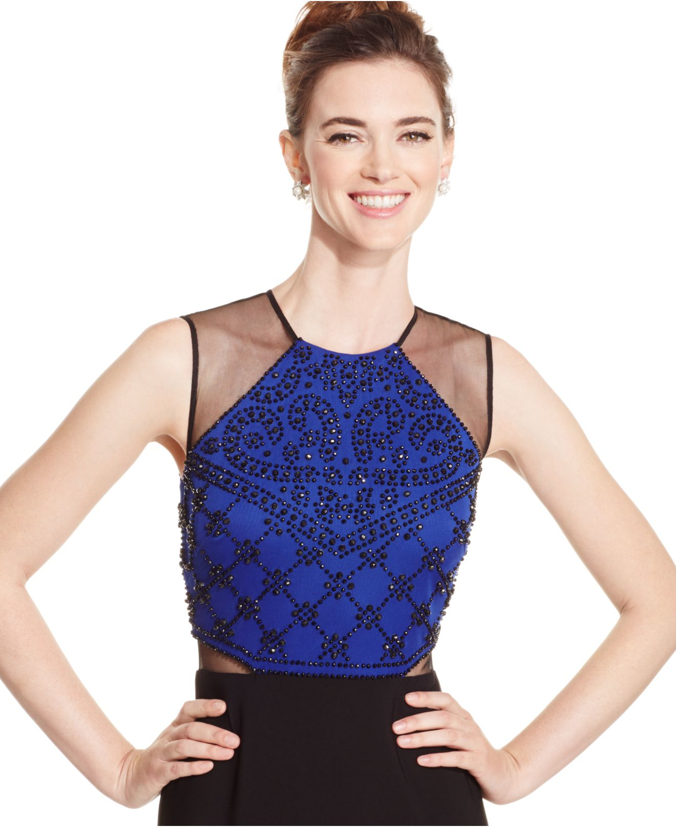 Lyst - Xscape Beaded Mesh Evening Gown in Blue