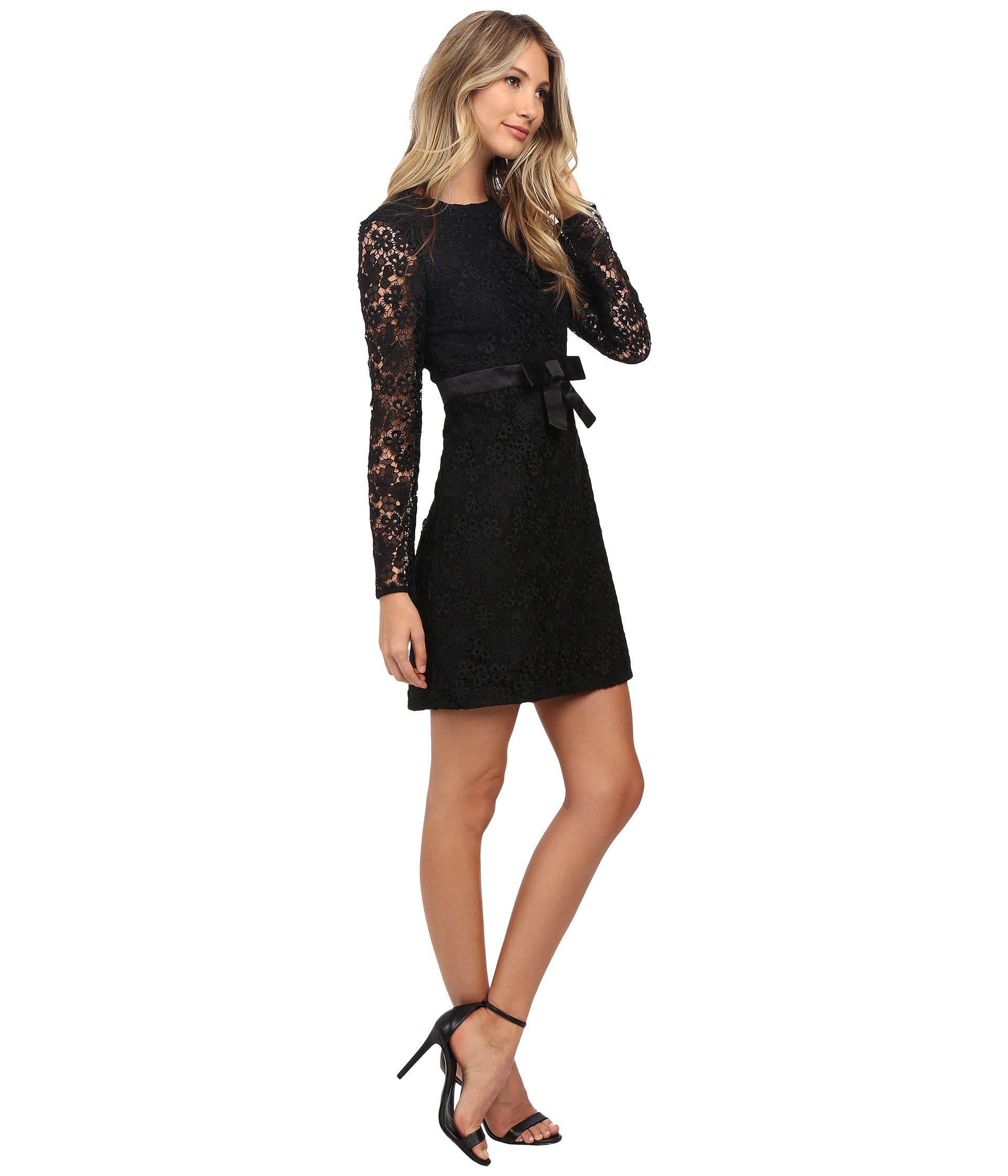 Jill Jill Stuart Long Sleeve Floral Lace Short Dress In