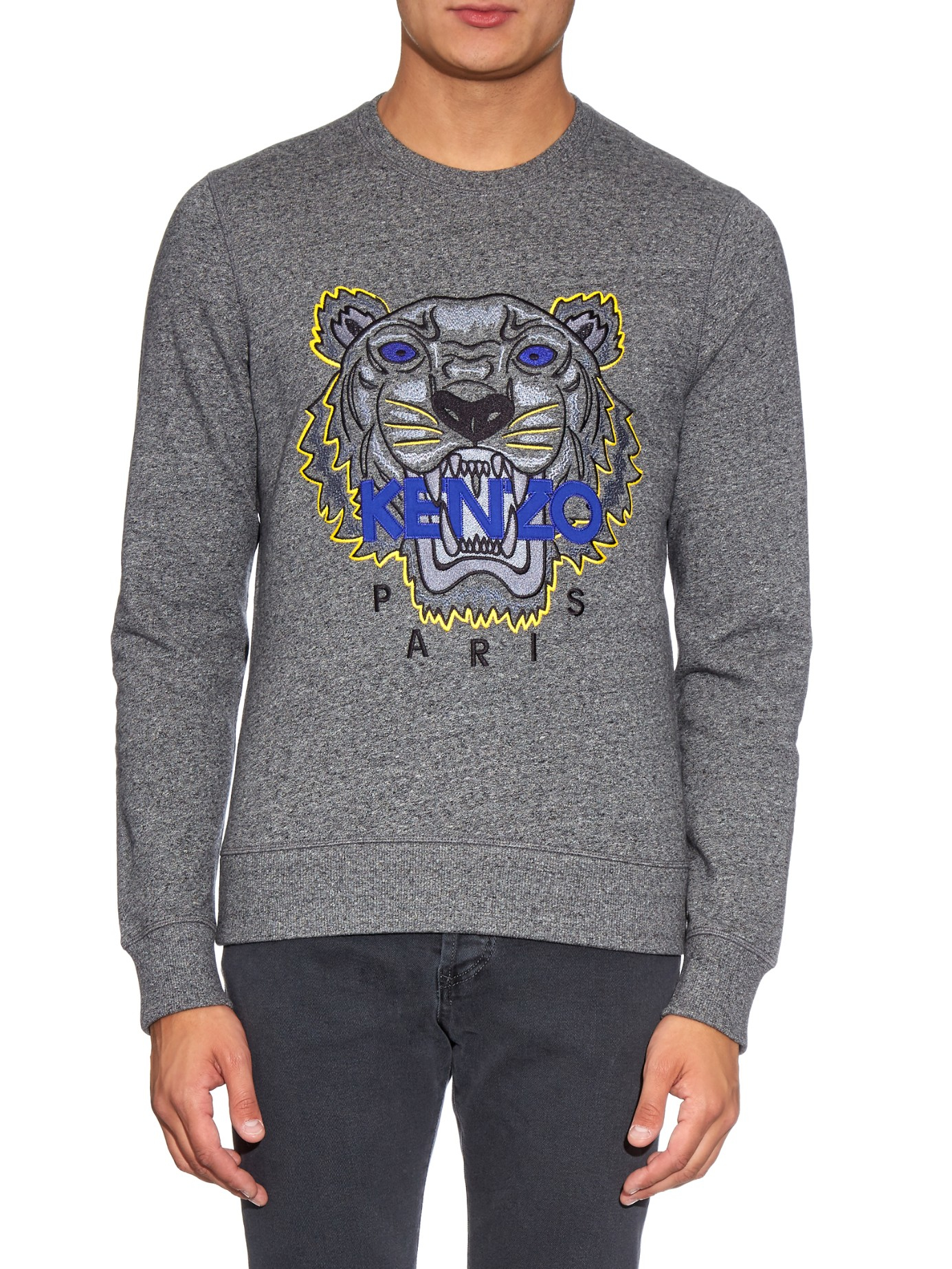 f9dfa3eb9efa Lyst - KENZO Tiger-embroidered Jersey Sweatshirt in Gray for Men
