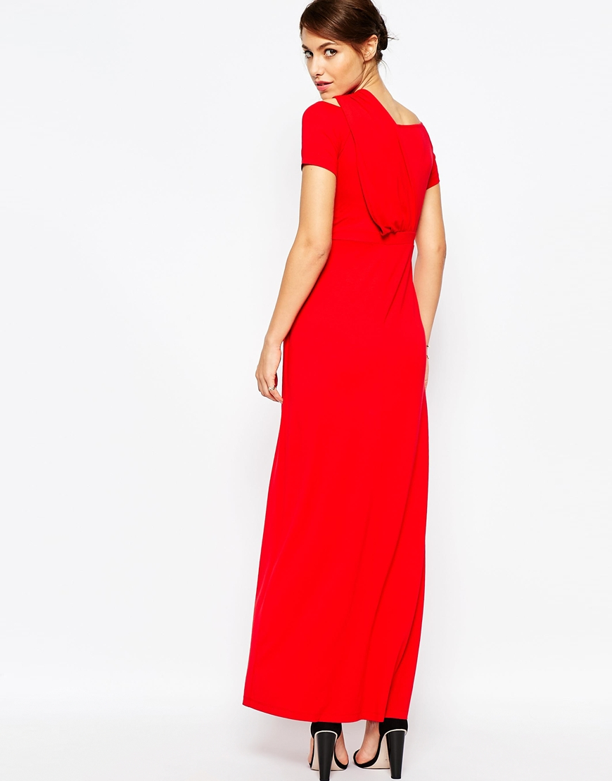 5ecbf9741b9 ASOS Bardot Maxi Dress With One Shoulder in Red - Lyst