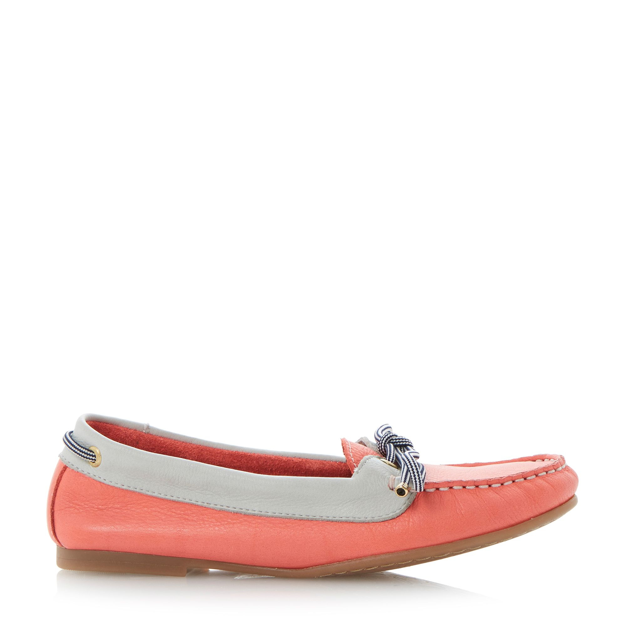 dune lautical suede toe flat deck shoes in pink