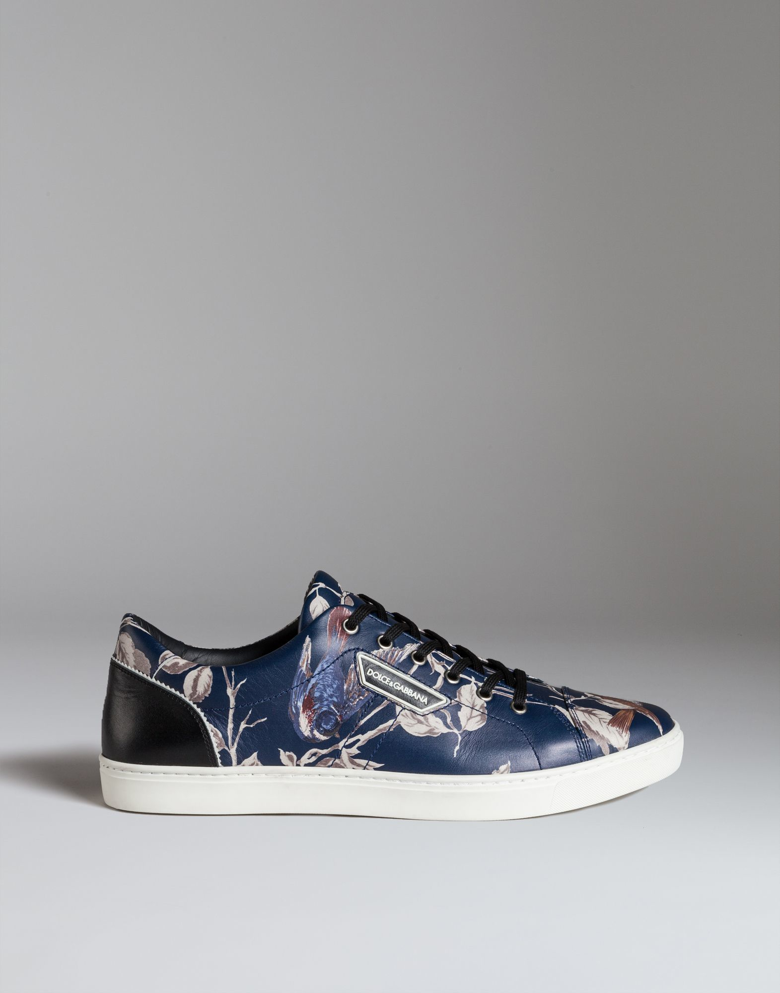 dolce gabbana sneakers in printed leather in blue for men lyst. Black Bedroom Furniture Sets. Home Design Ideas