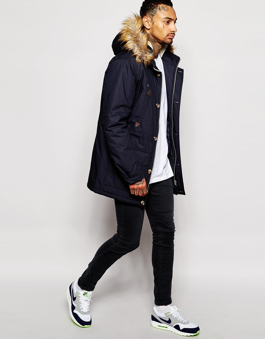 Asos Parka Jacket With Faux Shearling Hood In Navy in Blue for Men