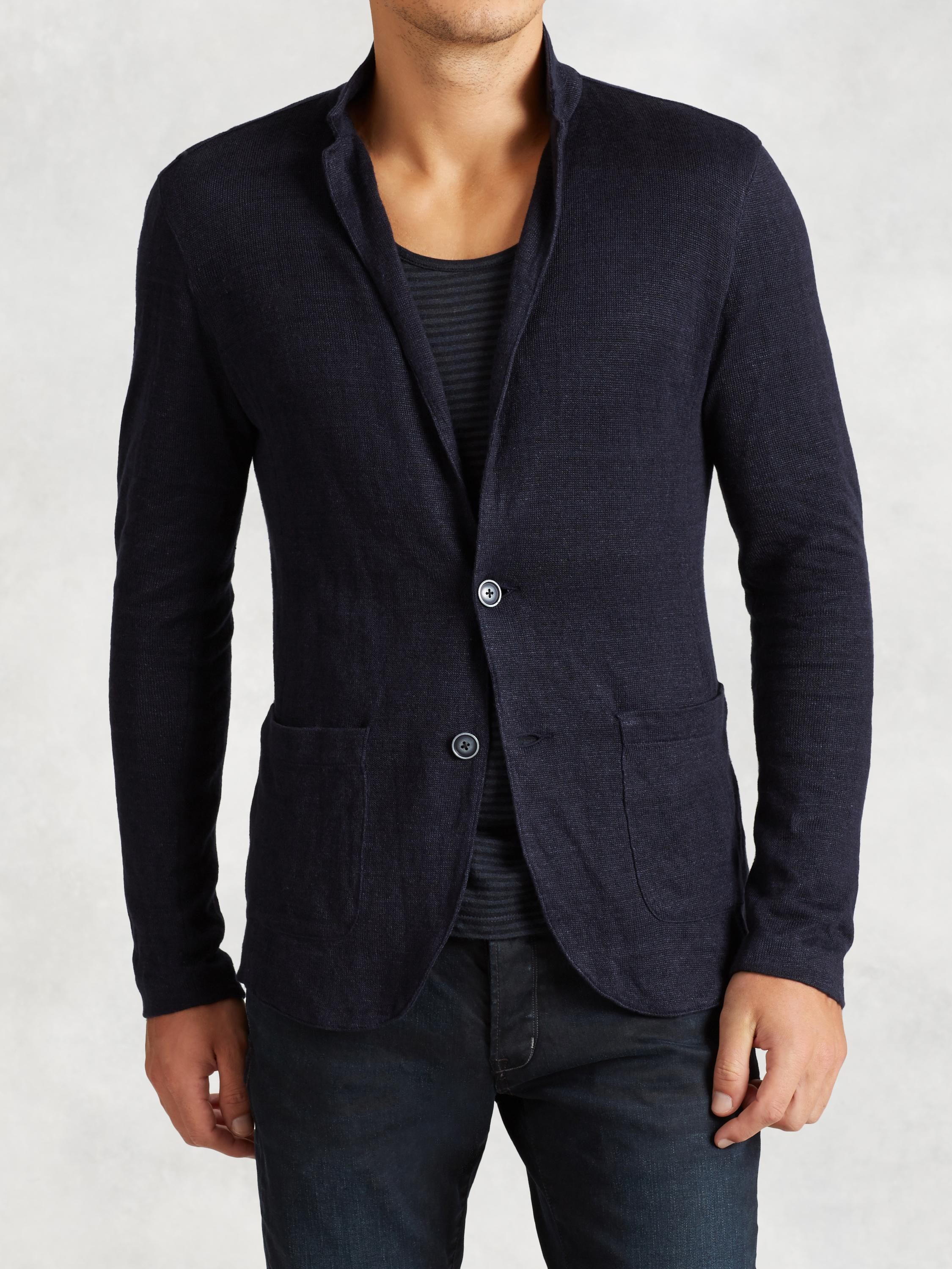 John varvatos Patch Pocket Sweater Blazer in Blue for Men | Lyst