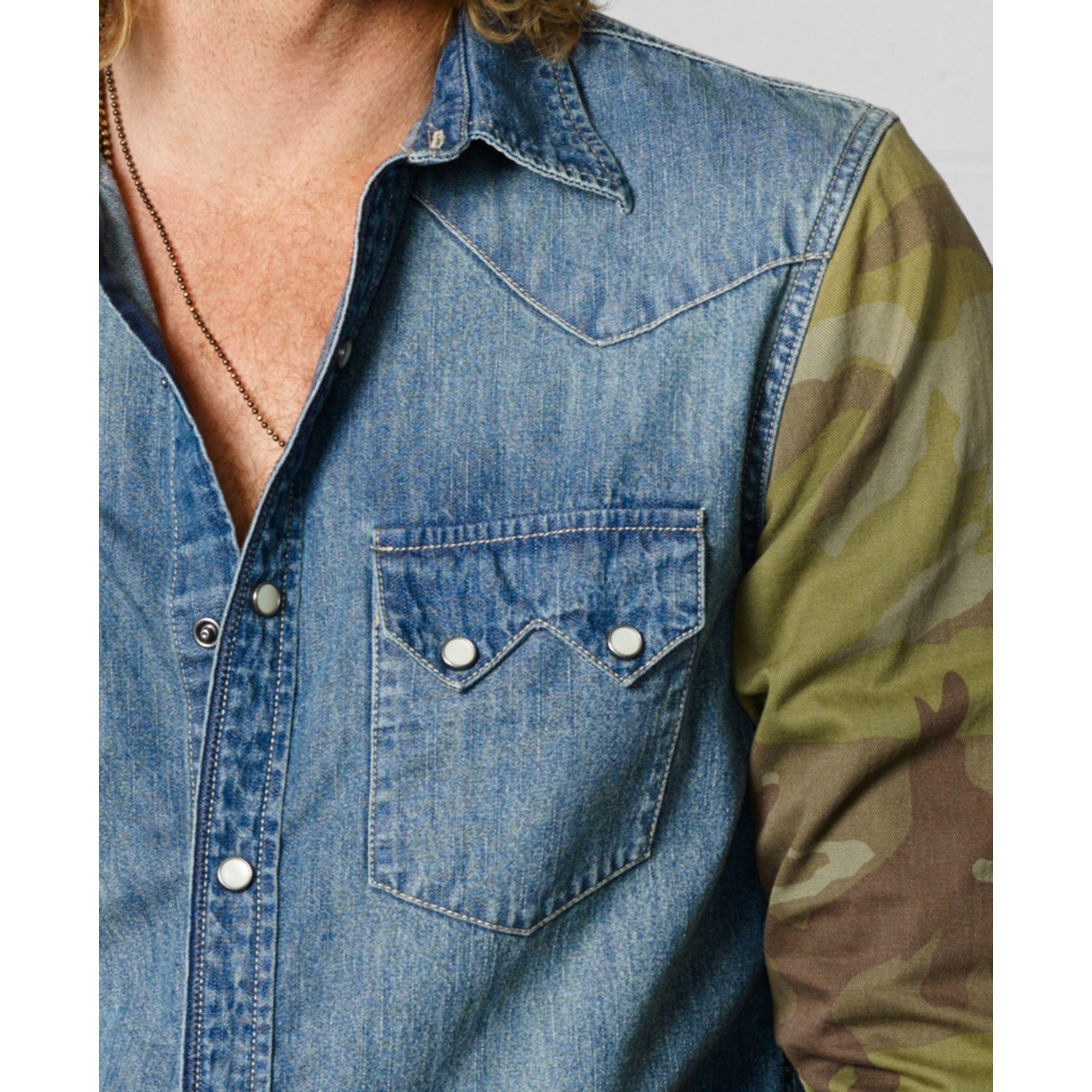 68c89b24c6 Lyst - Denim   Supply Ralph Lauren Camosleeve Western Shirt in Blue ...