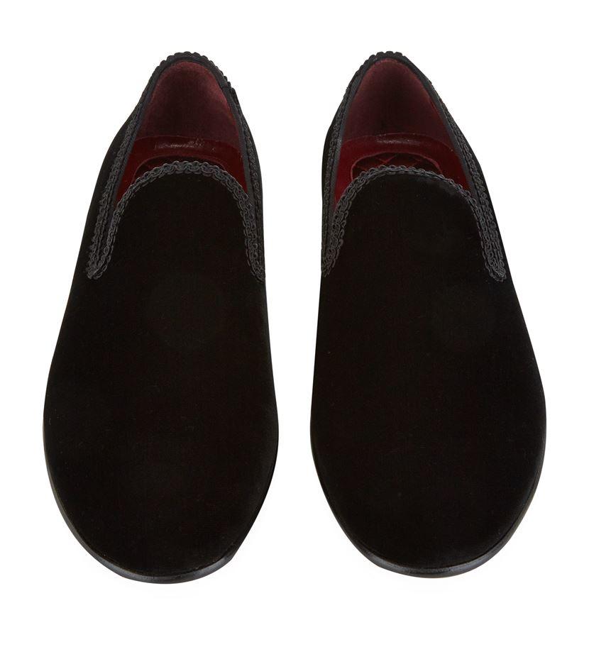 1a7cee9cc3 Dolce & Gabbana Embroidered Trim Velvet Slipper Shoe in Red for Men ...