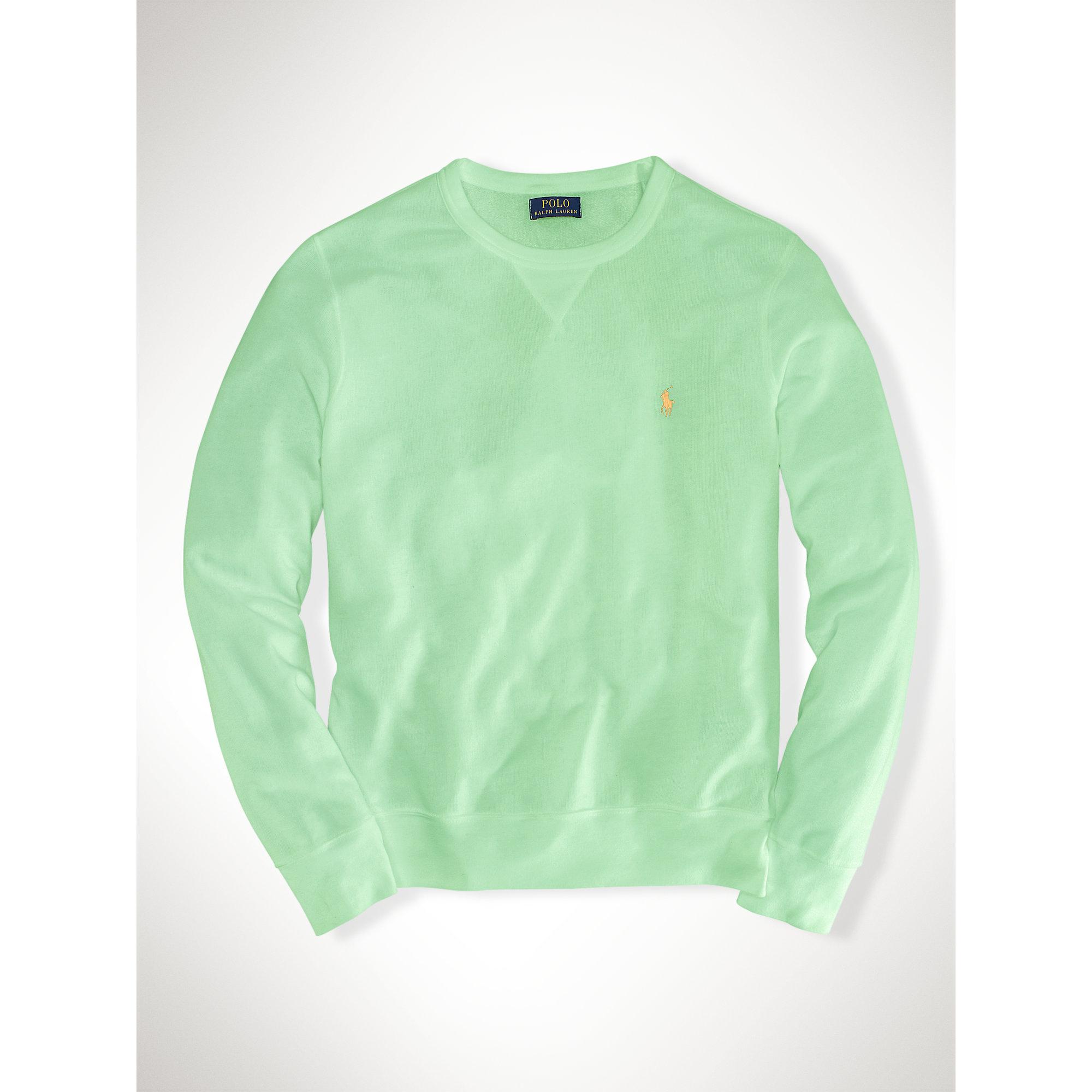 67819ada7857 ... discount code for lyst polo ralph lauren atlantic terry crew sweatshirt  in green for men f0bc3