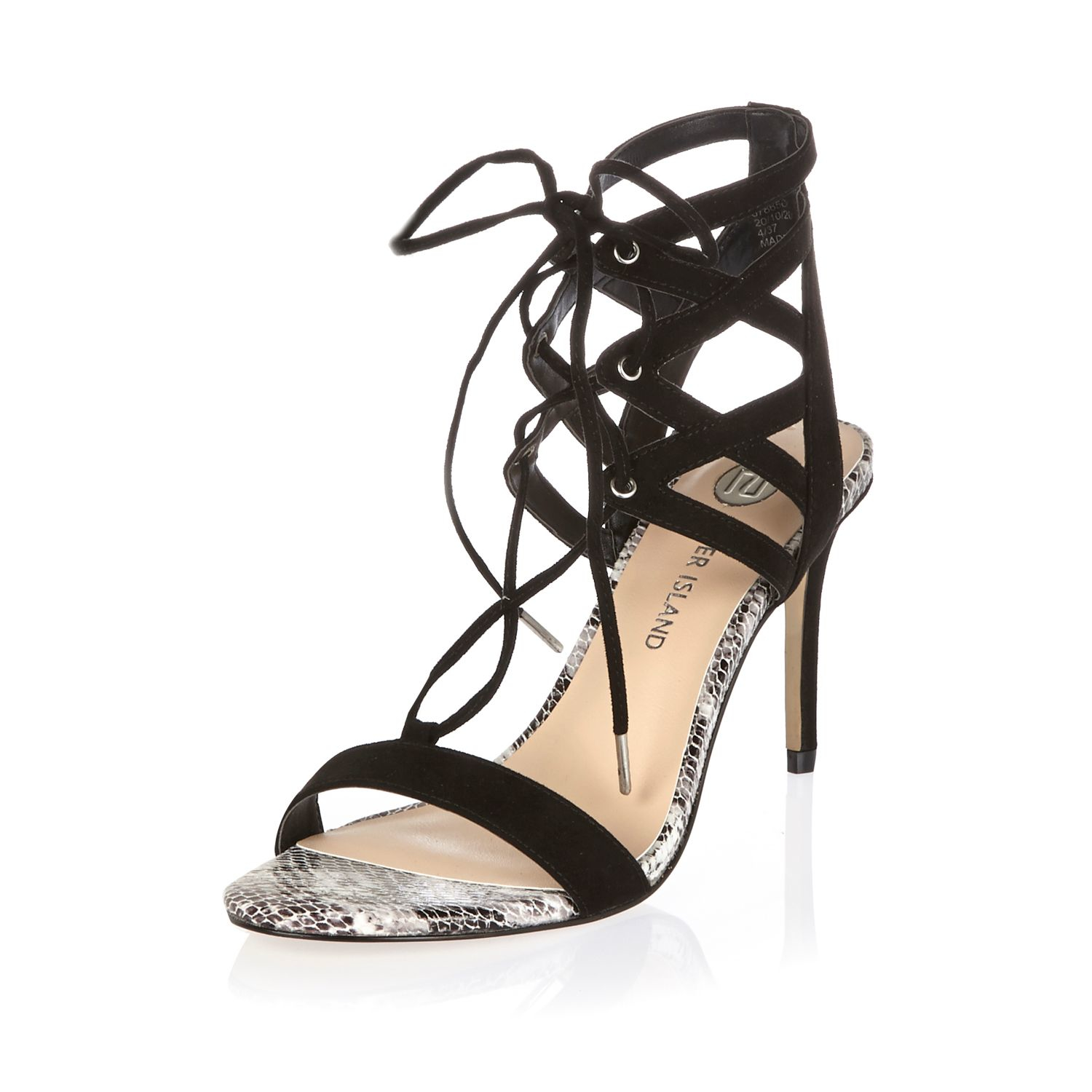 33a130a1728 Lyst - River Island Black Caged Heel Sandals in Black