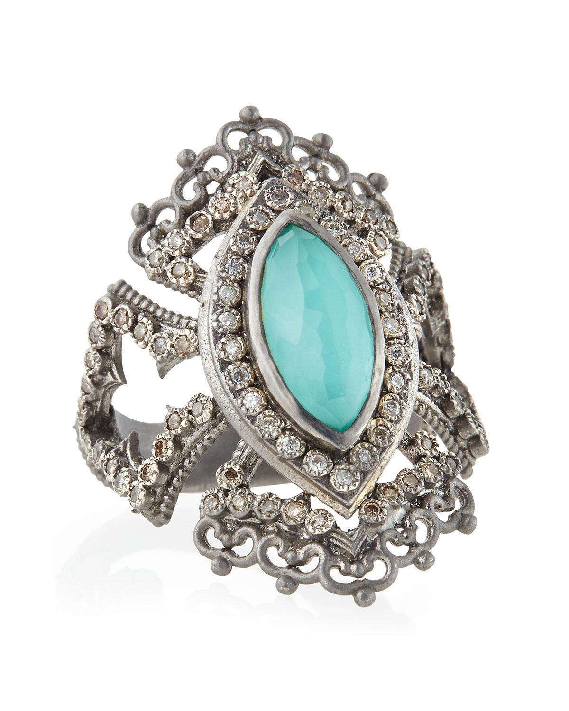 Armenta New World Scalloped Doublet Ring OdPkn