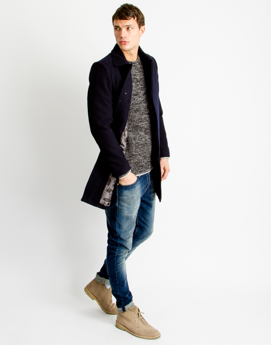Mens blue overcoat
