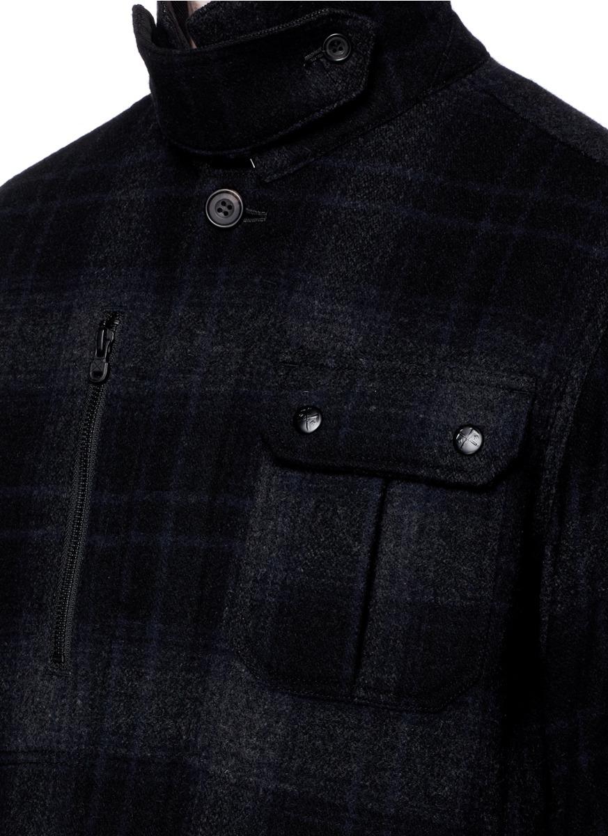 Lyst White Mountaineering Glen Plaid Wool Blend Coat In Black For Men Shirt Jacket Gallery