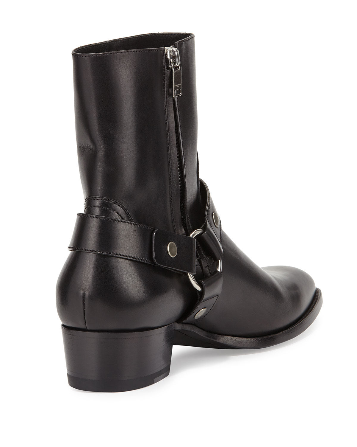 Saint Laurent Leather Wyatt Harness Boots in . BITYNbrG